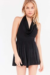 Silence And Noise Mary Sparkle Halter Cowl Romper Black