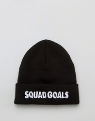 Asos Beanie With Squad Goals Embroidered Slogan Black