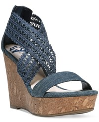 Fergalicious Vanessa Platform Wedge Sandals Women's Shoes Denim