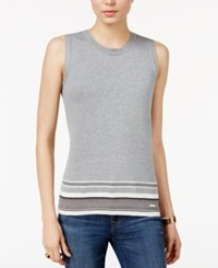 Tommy Hilfiger Striped Hem Sweater Only At Macy's Medium Grey Combo