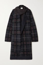 Le Kasha Antigua Draped Checked Cashmere Cardigan Navy