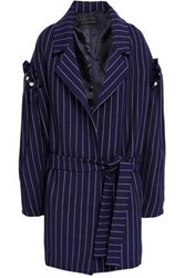 Mother Of Pearl Deon Faux Embellished Pinstriped Twill Coat Navy