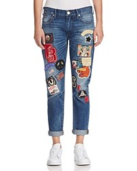 True Religion Audrey Patched Slim Boyfriend Jeans In Coron Dnxm Coron