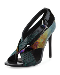 L.A.M.B. Beverlee Perforated Sandal Black Turquoise
