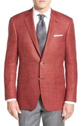 Hart Schaffner Marx Classic Fit Plaid Wool Silk And Linen Sport Coat Red