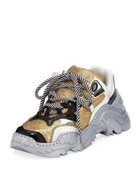N 21 Metallic Lace Up Runner Sneakers Gold