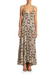 L'agence Grace Butterfly Print Silk Maxi Dress Champagne Dark Brown
