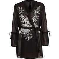 River Island Black Embroidered Frill Sleeve Robe