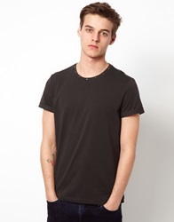 Asos T Shirt With Studded Neck And Rolled Sleeve Washedblack
