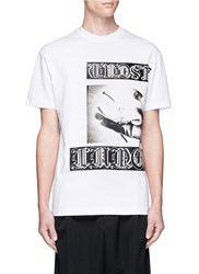 Mcq By Alexander Mcqueen Gothic Tattoo Photo Print Cotton T Shirt White