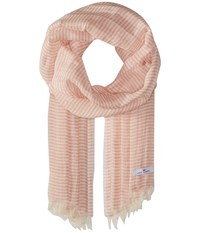 Love Quotes Linen Cotton Narrow Stripe Blush White Scarves Pink