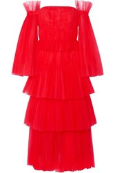 Carolina Herrera Off The Shoulder Tiered Tulle Gown Us10