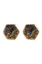 Melrose And Market Crushed Hexagon Druzy Stud Earrings Metallic