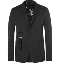 Givenchy Cuban Fit Canvas Trimmed Twill Blazer Black