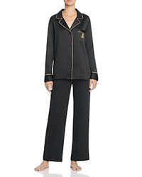 Ralph Lauren Satin Notch Collar Pajama Set Black