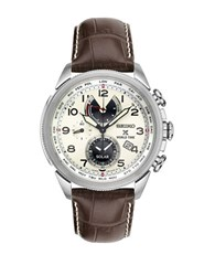 Seiko Stainless Steel And Leather Strap Chronograph Watch Brown