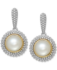 Macy's Cultured Freshwater Pearl Drop Earrings In Sterling Silver And 14K Gold 8Mm