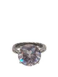 Bottega Veneta Cubic Zirconia And Silver Intrecciato Ring