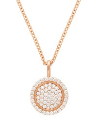Jamie Wolf 18K Scallop Pave Pendant Necklace Rose Gold