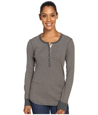 Royal Robbins Kick Back Striped Henley Dark Grey Heather Women's Clothing Gray