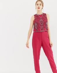 Frock And Frill Tailored Jumpsuit With Embellished Upper Persian Red