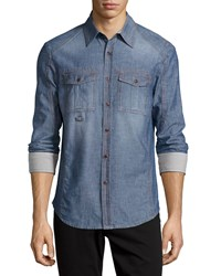Dime City By Mercury Mfg. Co. Macal Long Sleeve Faded Shirt W Contrast Cuffs Chambray