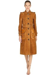 Coach Suede Trench Coat Camel