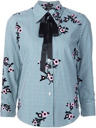 Marc Jacobs Floral Gingham Shirt Green