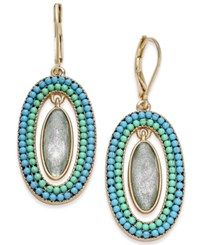 Lonna And Lilly Gold Tone Blue Bead Oval Stone Drop Earrings