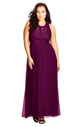 City Chic Paneled Lace Bodice Gown Plus Size Mulberry