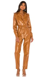 Torn By Ronny Kobo Alie Faux Leather Jumpsuit In Brown. Cognac