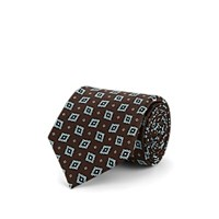 Fairfax Diamond Dot Silk Jacquard Necktie Brown