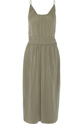 3.1 Phillip Lim Shirred Silk Crepe De Chine Midi Dress Army Green