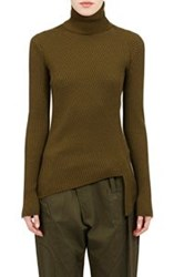 Balenciaga Women's Asymmetric Hem Turtleneck Sweater Green