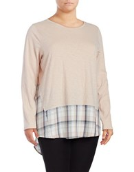 Vince Camuto Plus Crewneck Plaid Accented Mock Layer Sweater