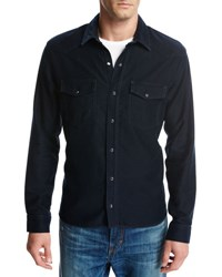 Vince Cotton Modal Western Shirt Blue