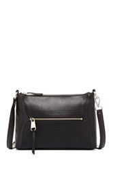 Perlina Mona Leather Zip Top Convertible Crossbody Black