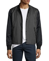 Rag And Bone Irving Striped Bomber Jacket With Leather Sleeves Black White Black White