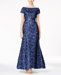 B Michael Sequined Rosette Off The Shoulder Gown Sapphire Silver