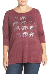 Plus Size Women's Lucky Brand Elephant Grid Print Tee