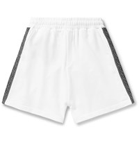 Mcq By Alexander Mcqueen Logo Trimmed Loopback Cotton Jersey Shorts White