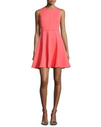 Halston Ponte Sleeveless Fit And Flare Dress Coral