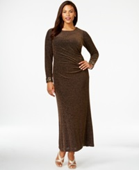 Patra Plus Size Long Sleeve Metallic Gown Black Gold