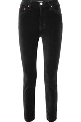 Re Done High Rise Ankle Crop Stretch Velvet Skinny Pants Black