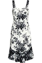 Lover Woman Fluted Printed Scuba Dress White