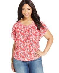 American Rag Plus Size Floral Print Flutter Sleeve Tee Bitter Sweet
