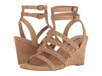 Tahari Fitzy Fawn Suede Women's Wedge Shoes Taupe