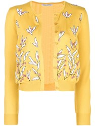 Oscar De La Renta Floral Embroidered Cardigan Gold