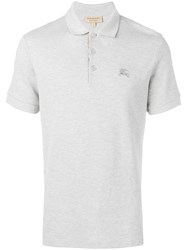 Burberry Check Placket Polo Shirt Grey