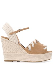 Sergio Rossi Two Tone Wedge Sandals Neutrals